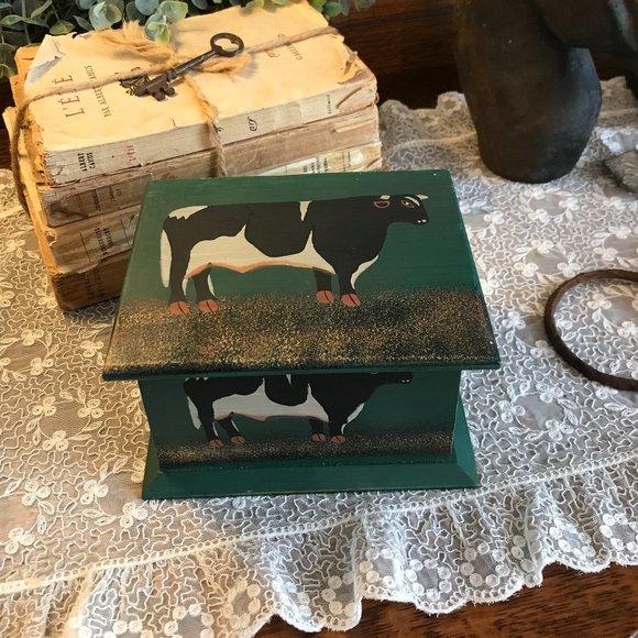 vintage wood cow box